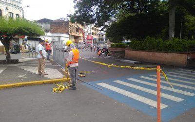 Inician obras de remodelación en el Parque Bolívar de Cartago